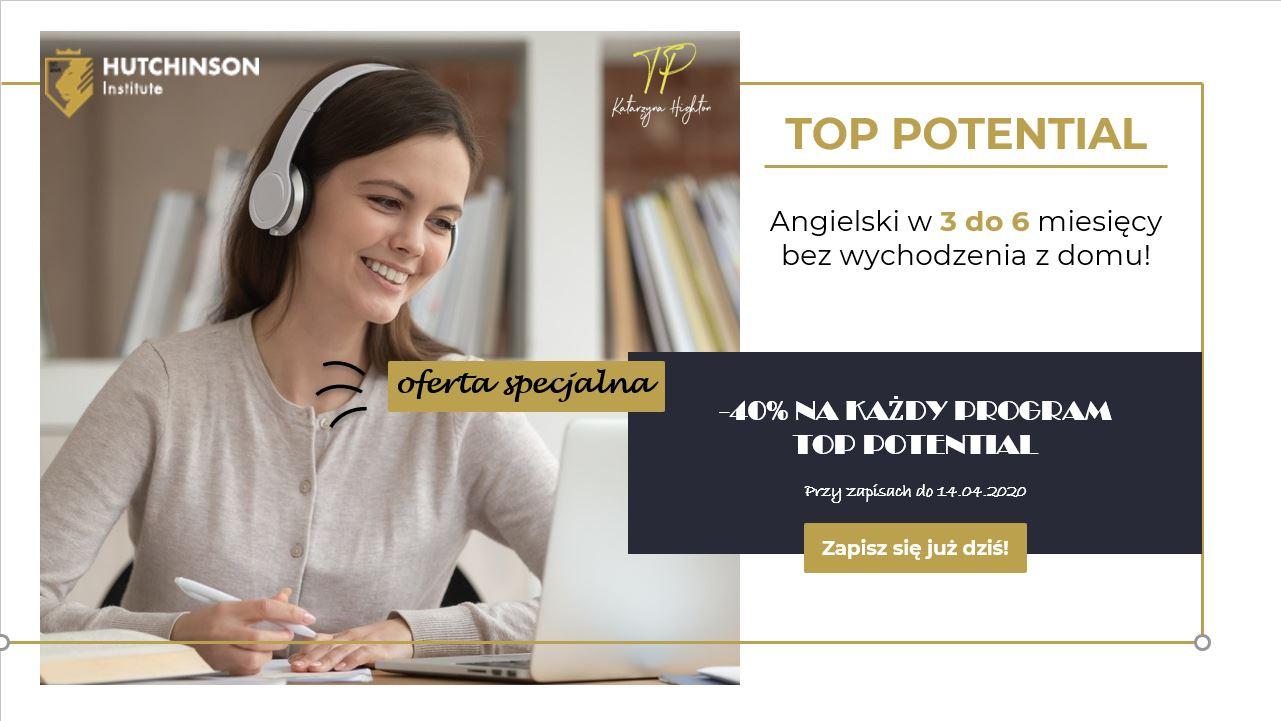 40% zniżki na każdy program TOP POTENTIAL przy zapisach do 14.04.2020